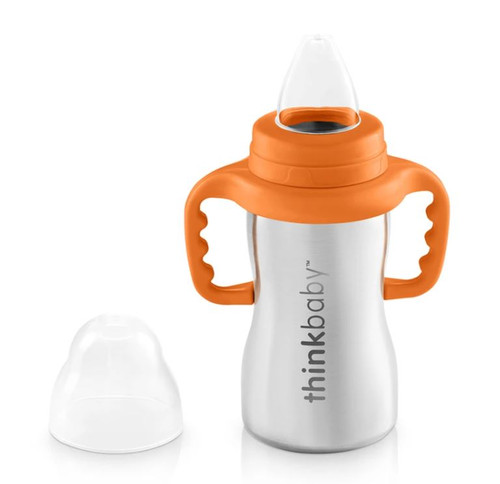 Thinkbaby Orange Sippy Of Steel Soft Spout Trainer 9 oz - NEW IN PACKAGE
