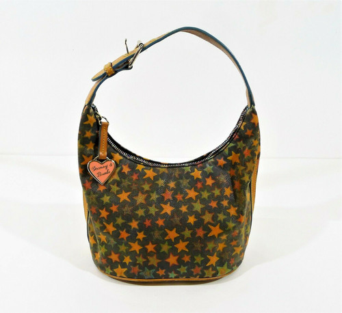 Vintage Dooney & Bourke Canvas Star Hobo Bag Bucket Purse **STAINS INSIDE