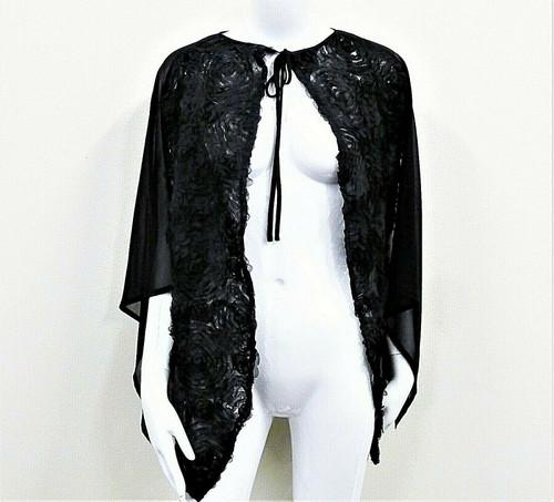 NWT Ruyi Women's Black Chiffon Floral Shawl Wrap Cape One Size