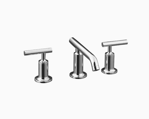 Kohler Purist Widespread Bathroom Sink Faucet with Drain in Polished Chrome