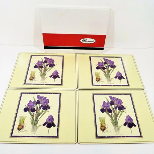 "Set of 4 Pimpernel Iris Germanica Floral Print Cork Back Placemats 16"" x 12"""