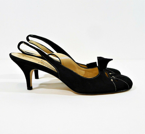 Kate Spade Women's Black Suede Bow Sling Back Pumps Heels Shoes Size 6.5 B