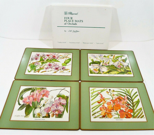 Set of 4 Pimpernel Orchids by Jim Walker Cork Back Placemats **2 SMALL TEARS