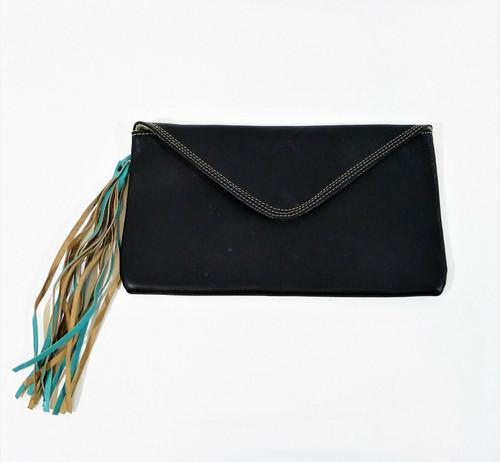 Cuero Papel & Tijera Black Clutch Purse with Teal Tassel **WHITE SPOT ON BOTTOM