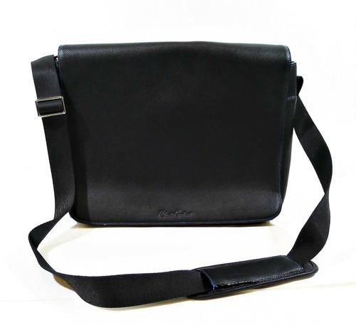 Robert Graham Black Pebbled Leather Laptop Messenger Brief Bag