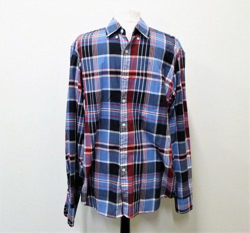 J. Crew Men's Blue Plaid Long Sleeve Shirt Size Large