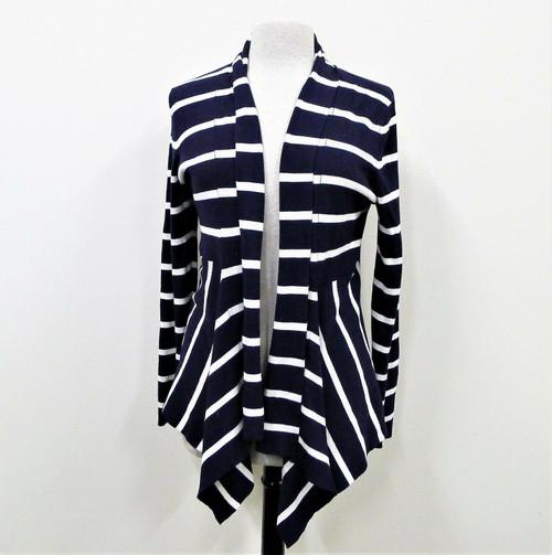 Black Saks Fifth Avenue Blue Striped Open Long Sleeve Cardigan Size XL