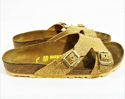Birkenstock Women's Gold Pebble Leather Sandals Size 4