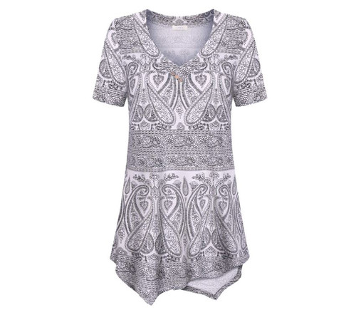 CaKra Women's White Black Paisley Flowy Tunic Casual T-Shirt Size S - NEW w Tags