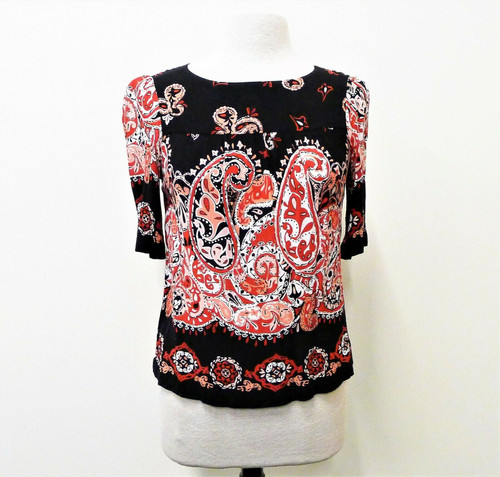 Loft Outlet Women's Black Red Paisley 3/4 Sleeve Tunic Blouse Shirt Size XS