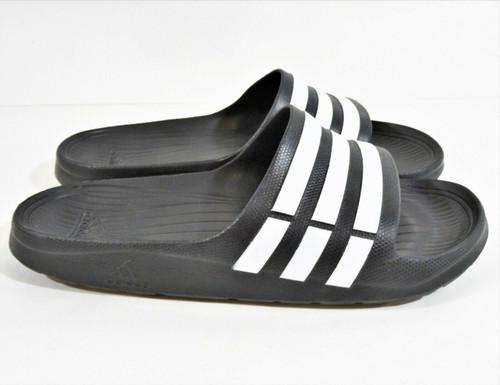 Adidas Duramo Men's Black & White Slides Sport Sandal Size 10