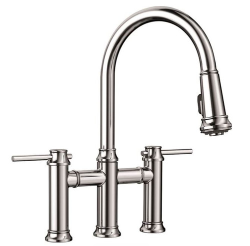 Blanco Empressa 2-Handle Deck-Mount Bridge Handle Kitchen Faucet Polished Chrome