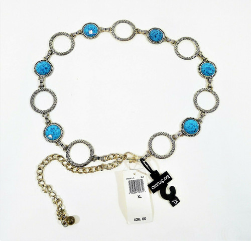 Bay Studio Women's Chain Belt Turquoise Colored Plastic Stones XL - **TARNISH