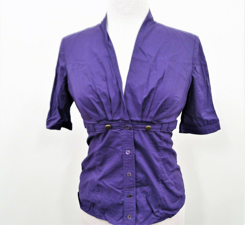 Gucci Italy Women's Deep Purple Button Up Blouse Size 42 (US Medium) *Has Stains
