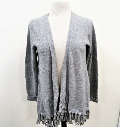 Peck & Peck Women's Gray 100% Cashmere Fringe Cardigan Sweater *Stain*