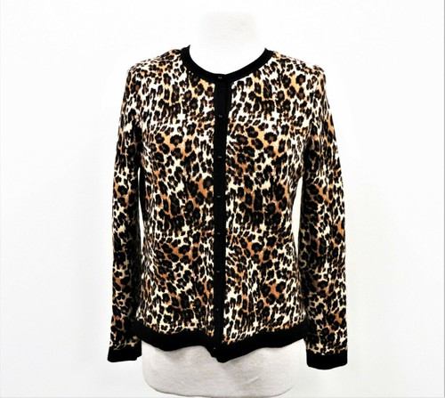 NYDJ Women's Animal Print Cheetah Leopard Knit Cardigan Size Medium