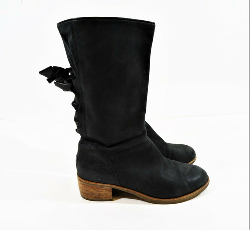 Ugg Women's Black Leather Back Lace Up Pull On Heel Boots Size 7