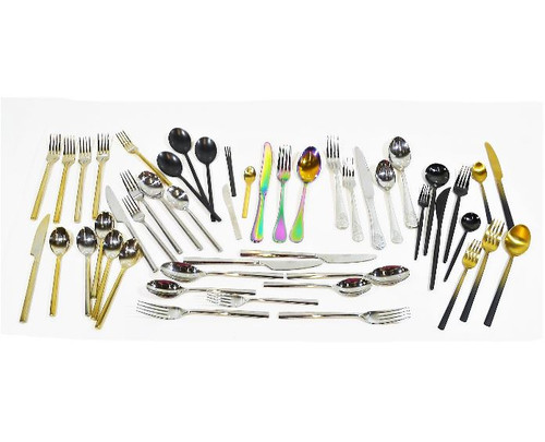 Mixed Set of 49 Pieces of CB2 Flatware Assorted Styles and Patterns