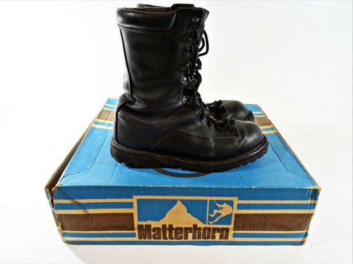 Matterhorn Vintage Men's Black Combat Boots Size 8 In Original Box