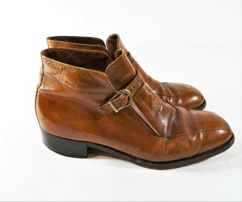 Florsheim Men's Brown Leather Monk Strap Dress Shoes Size 9.5