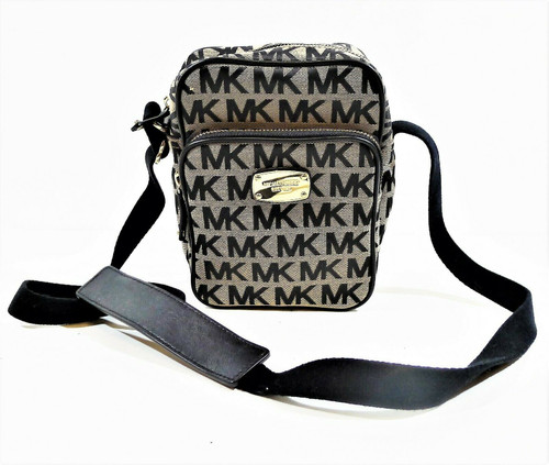 Michael Kors Tan/Black Canvas Signature Crossbody Purse with Nylon Strap