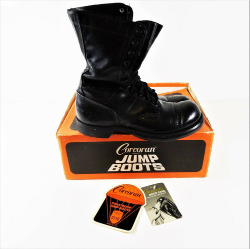 Vintage Corcoran Men's Black Leather Jump Boots Size 7.5 In Original Box
