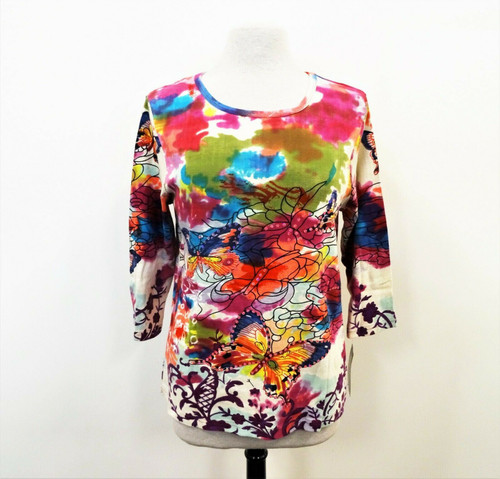 Bon Worth Women's Floral Embellished Butterfly Knit Top New with Tags Size Small