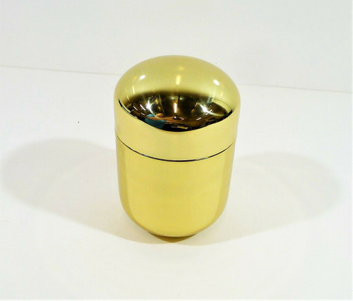"CB2 Decorative 7"" Gold Tone Capsule Canister **SCRATCHES AND SCUFFS"