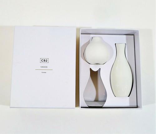 """CB2 2-Piece Porcelain Vase Set 5.25"""" and 2.5"""""""