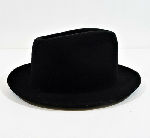 Morfelt Quality Black Fedora Wool Hat Size 7 1/8 - WPL5923 **MISSING HAT BAND