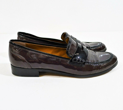 Franco Sarto Women's Brown w Black Trim Patent Leather Jolette Loafers Size 9.5M