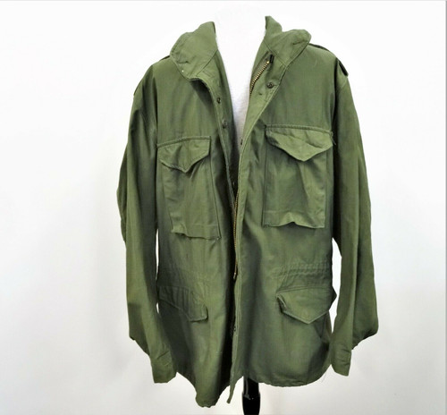 Cold Weather Field Coat Men's Large Long Military Style Kahki Green *No Liner*