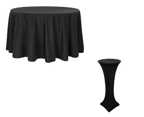 "Set of 8 Black Polyester Table Cloths (1) 108"" Round (7) High 24"" Spandex Round"