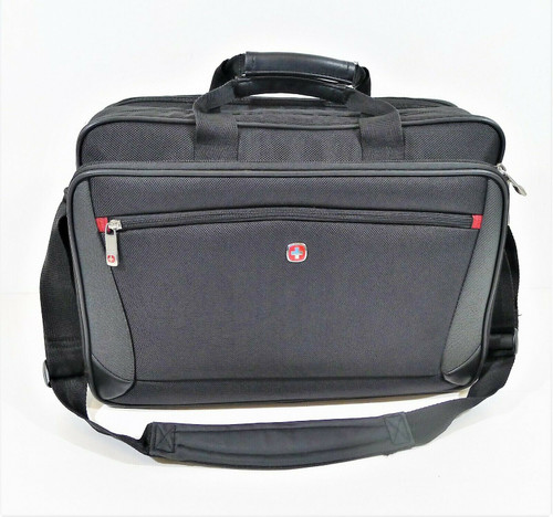 Wenger Swiss Army Black/Gray Messenger Brief Bag with Shoulder Strap