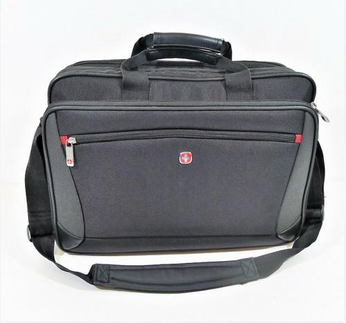 Wenger Swiss Army Black/Gray Messenger Brief Bag with Shoulder Strap