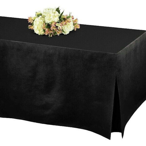 Table Fitters Flannel-Backed Vinyl Fitted Tablecover in Black 72x31x27  NEW