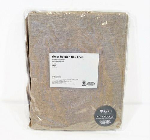 "West Elm Sheer Belgian Flax Linen Pole Pocket Curtain 48"" x 96"" - NEW"