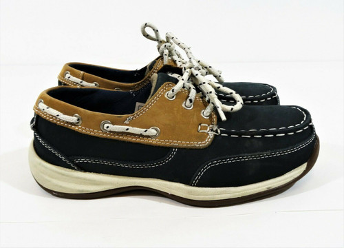 Rockport Works Women's Steel Toe Sailing Blue Leather Boat Shoes Size 6