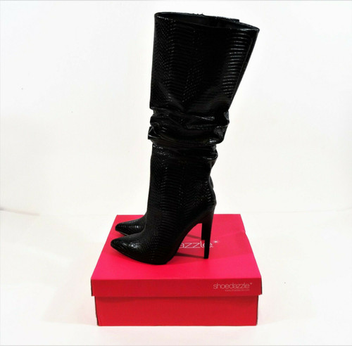 Shoedazzle Black Snake Beckey Heeled Boots Size 8 In Original Box