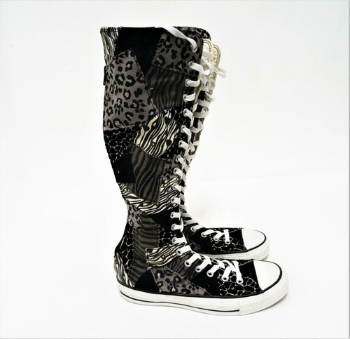 Converse All Star Tall Lace Up Animal Print Patchwork Boots Women's Size 9