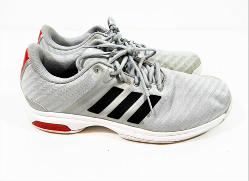 Adidas Barricade Court Men's Gray & Red Tennis Athletic Shoes Size 12 *Stain*