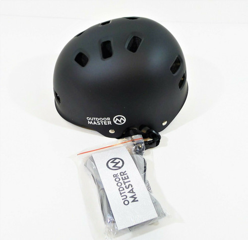 Outdoor Master Black Youth and Adult Skateboard Cycling Helmet Size M OM-SKB NEW