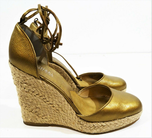 Michael Kors Gold Tone Leather Espadrille Wedge Heels Size 7.5