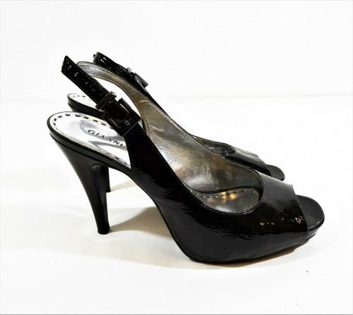 Gianni Bini Dark Brown Patent Leather Peep Toe Sling Back Heels Size 8.5