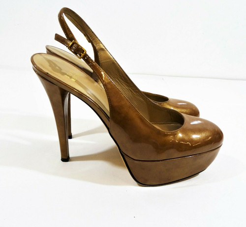 Stuart Weitzman Metallic Tan Patent Leather Platform Sling Back Heels Size 8