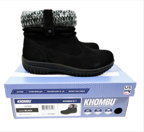Khombu Laura Women's Black Snow Bootie Boot Size 7 *New in Box with Defects*