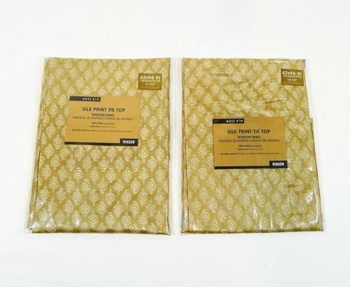 "Set of 2 West Elm Brown Silk Print Tie Top Window Panels 42"" x 96"" - NEW"