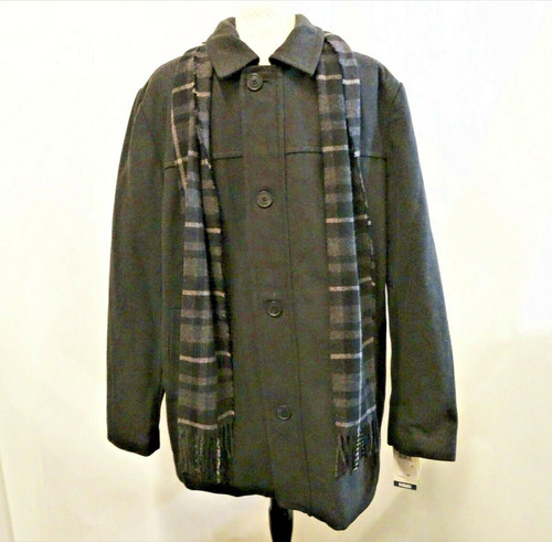 Dockers Men's Charcoal Gray Wool-Blend Coat & Plaid Scarf Size XL New with Tags