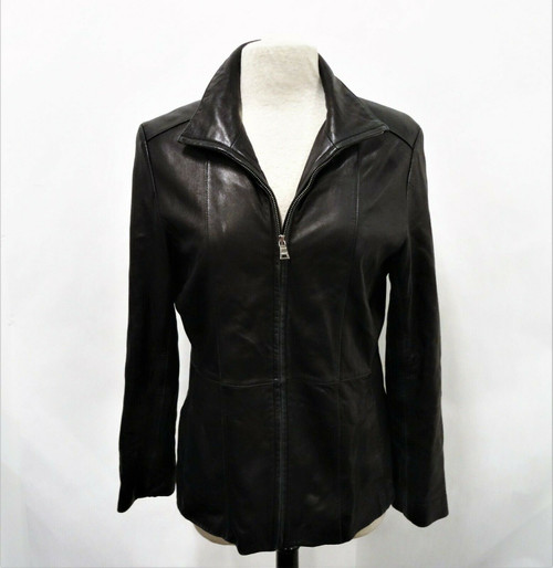 Marc New York Andrew Marc Women's Black Leather Zip Up Jacket Size Large *Wear*