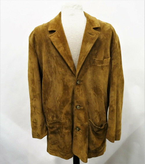 Brooks Brothers Men's Tan Suede Leather Blazer Jacket Size Medium *Stains*